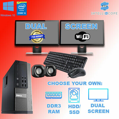 DUAL SCREEN DELL/HP I5 QUAD DESKTOP PC COMPUTER SET 16GB WINDOWS 10 HDD & SSD • 284.99£