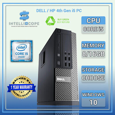 Dell /HP I5 4th Gen Quad Desktop SFF 16GB RAM SSD / HDD Windows 10 PC Computer • 178.99£