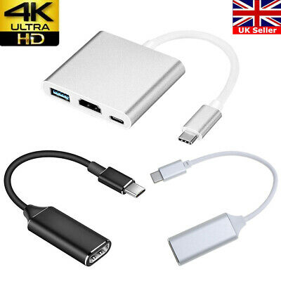 Type C To USB-C HDMI USB 3.0 Hub Adapter Lightning To HDMI Cable For Apple Mac  • 8.98£