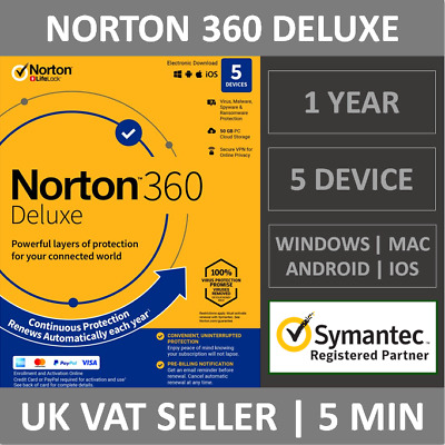 Norton 360 Deluxe 2020 5 Devices 1 Year Subscription Internet Security Antivirus • 15.49£