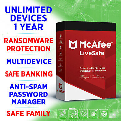 McAfee LiveSafe 2020 UNLIMITED Devices 1 Year FULL KEY / Win, Mac, IOS, Android • 10.88£