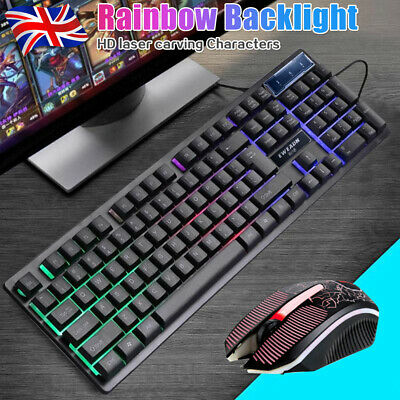 Gaming Keyboard AND Mouse Set Rainbow LED Wired USB For PC PS4 Xbox One UK • 17.59£