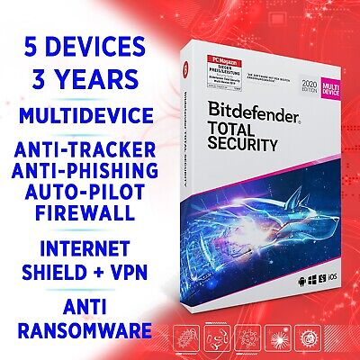 Bitdefender Total Security 2020 Multidevice 5 Devices 3 Years, FULL EDITION +VPN • 41.24£