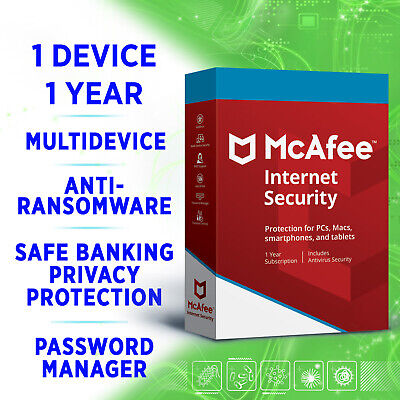 McAfee Internet Security 2020 1 Device 1 Year Multidevice • 3.99£