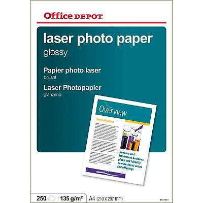 A4 Laser Gloss Photo Paper 135gsm 250 Sheets 1 Ream Pack Office Depot C6P • 12.99£