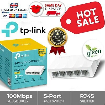 TP-LINK 5 Port Fast Ethernet Switch LAN Network RJ45 Splitter Hub Wired NEW  • 8.99£