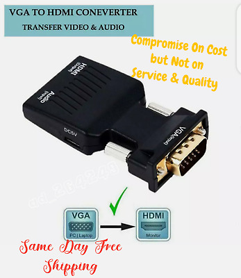 VGA INPUT To HDMI OUTPUT Video Audio Converter Cable Adapter 1080 For TV PC DVD • 5.79£