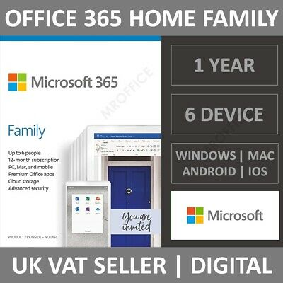 Microsoft Office 365 Home Family - 1 Year Subscription - 6 Users - PC/Mac/Phone • 56.99£