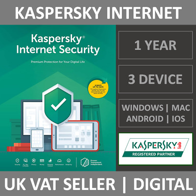 Kaspersky Internet Security 2020 - 3 Devices - 1 Year - Antivirus Subscription  • 13.99£