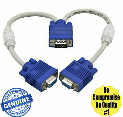 1 PC To 2 Way VGA SVGA Monitor Y Splitter Cable Lead 15Pin Male Female LCD TFT • 4.79£