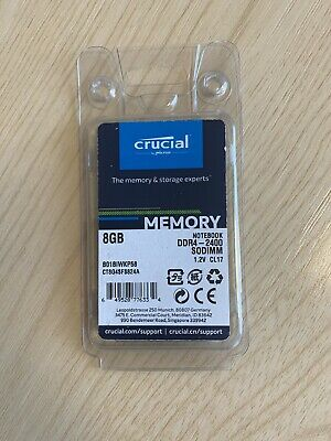 Crucial CT8G4SFS824A 8GB (DDR4, 2400 MT/s, PC4-19200 SODIMM Laptop Memory - NEW • 16.99£