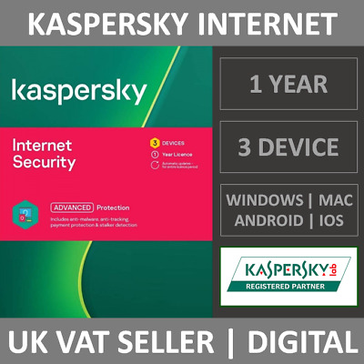 Kaspersky Internet Security 2021 - 3 Devices - 1 Year - Antivirus Subscription  • 13.99£