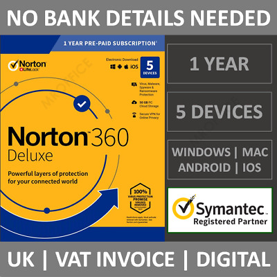 Norton 360 Deluxe 2021 5 Devices 1 Year Subscription Internet Security Antivirus • 16.99£