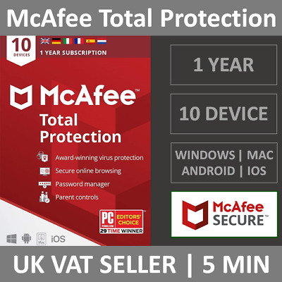 McAfee Total Protection 2020 | 10 Devices | 1 Year | PC/Mac/Phone | Security • 12.99£