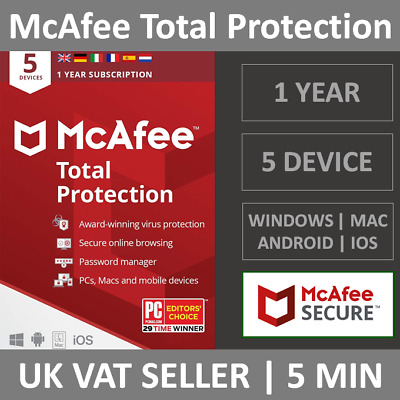 McAfee Total Protection 2020 | 5 Devices | 1 Year | PC/Mac/Phone | Security • 10.99£