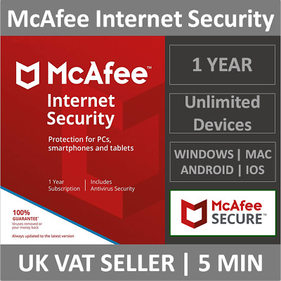 McAfee Internet Security 2020 | Unlimited Devices | 1 Year | PC/Mac/Smartphones • 6.49£