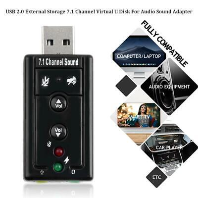 External Virtual USB 3D 7.1 Channels Stereo Sound Card Audio Adapter Converter • 2.59£