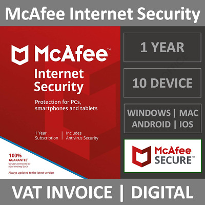 McAfee Internet Security 2020 | 10 Device | 1 Year | Windows/MacOS/Android/iOS • 6.25£