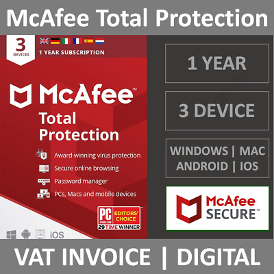 McAfee Total Protection 2021 | 3 Devices | 1 Year | PC/Mac/Phone | Security • 10.49£