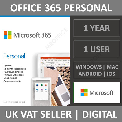 Microsoft Office 365 Personal | 1 User | 1 Year Subscription | PC/Mac/Tablet • 42.25£