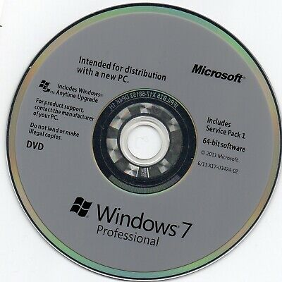 Windows 7 SP1 Professional  Operating System Software CD 64 Bit With Key • 4.99£