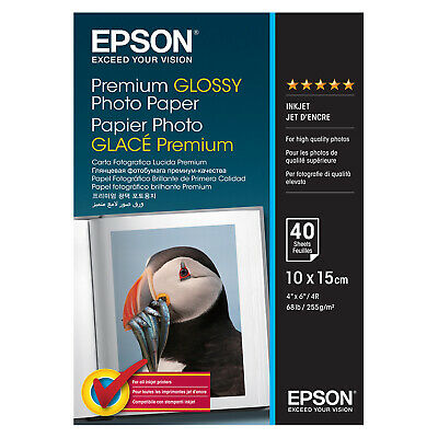 EPSON Photo Paper Premium Glossy 6 X 4  Quality Photos Inkjet 10x15cm 40 SHEETS • 5.45£