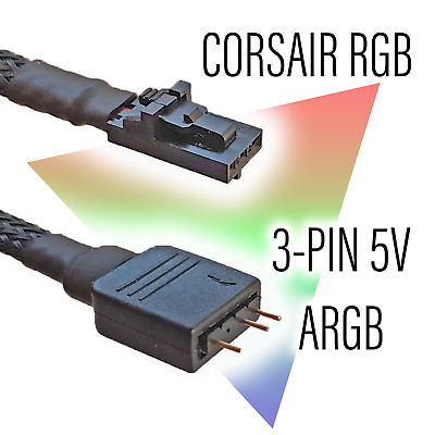 Corsair RGB To Standard ARGB 3-pin 5V Adapter (MALE) • 8.99£