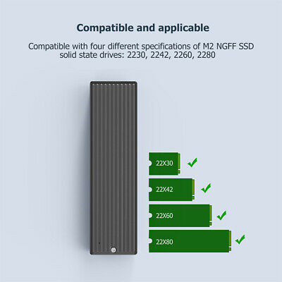 5Gbps M.2 NVME To USB 3.1 SSD Enclosure Adapter Type-C SSD External Case Box UK • 12.11£
