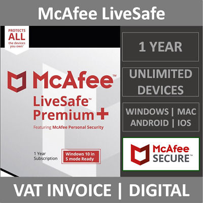McAfee LiveSafe 2021 | Unlimited Devices | 1 Year | PC/Mac/Android/Smartphones • 17.99£