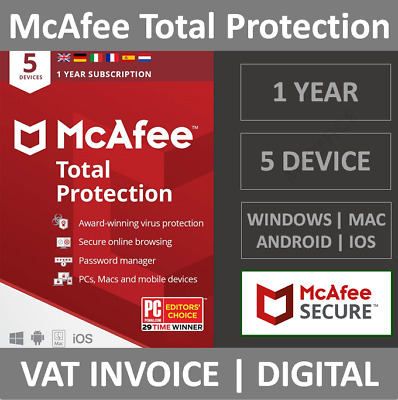 McAfee Total Protection 2021 | 5 Devices | 1 Year | PC/Mac/Phone | Security • 10.99£