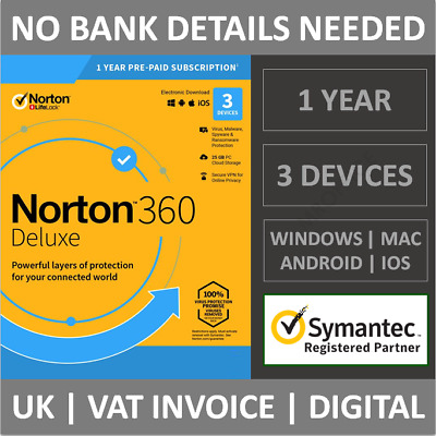 Norton 360 Deluxe 2021 3 Devices 1 Year Subscription Internet Security Antivirus • 13.99£