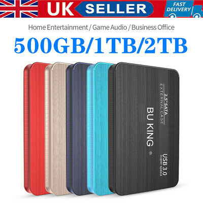 UK External HDD Portable Solid State Drives USB 500GB 1TB 2TB Mobile Hard Drive • 23.99£