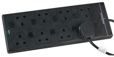 Pro Elec - 2818NS(1N) 3M BLK - 3m 8 Way Switched Surge Protected Extension Lead, • 17.99£