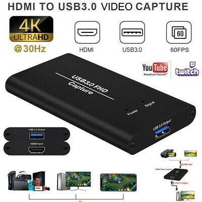 HDMI TO USB 3.0 Video Capture Card 1080P 4K HD RecorderFor Game Live Streaming • 51.99£