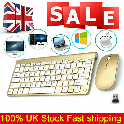 2.4G Gold Laptop Wireless Keyboard And Cordless Mouse Set For Desktop Apple Ma • 10.99£