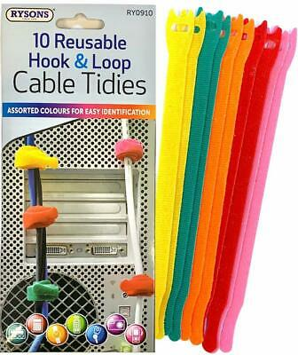 10 Pc Reusable Loop Cable Cord And Nylon Strap Hook Ties Tidy Organiser 5 Colors • 3.29£