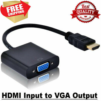 HDMI Male IN To SVGA VGA Female OUT Converter Cable Adapter Black For PC DVR TV • 3.95£