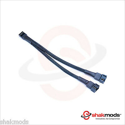 Shakmods 20 Cm 4 Pin PMW Fan Y Splitter Black Sleeved Extension Cable • 4.47£
