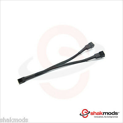 Shakmods 3 Pin Fan Y Splitter 20cm Black Sleeved Extension Cable UK First Class • 3.99£
