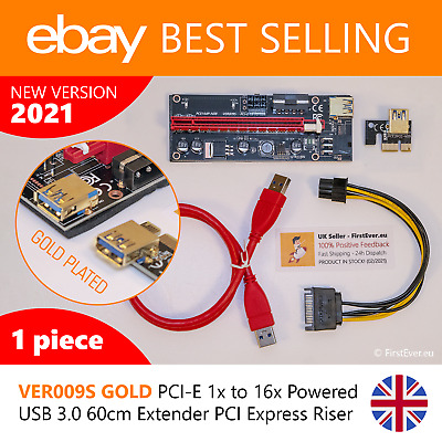 BEST SELLING PCI-E 1x To 16x Powered USB 3.0 60cm Extender PCI Express Riser UK • 7.48£