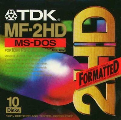 TDK MF2HD 10 Disk New IBM Formatted • 34.99£