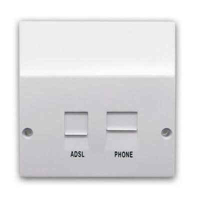 ADSL Filtered BT / RJ11 Phone / Network Microfilter White Faceplate - 2 Sockets • 10.33£