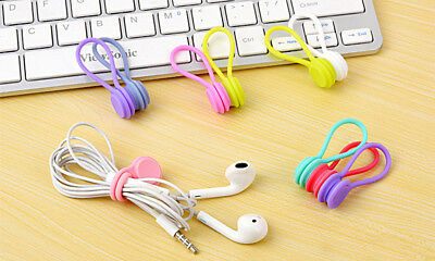 Magnetic Cable Organiser Headphone Tidy Cord Multifuntion Winder 3pcs Blue • 1.99£