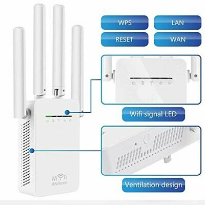 WiFi Extender Signal Booster 4 External Antennas  Fast Speed Wi-Fi Repeater • 19.95£