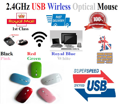 UK 2.4 GHz Wireless Cordless Mouse USB Optical Scroll For PC Laptop Computer ILC • 3.45£