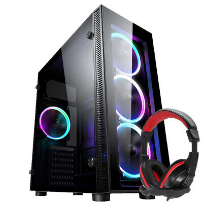 PC COMPUTER CASE ATX GAMING TEMPERED GLASS  IONZ KZ02+ Dynamode DH-500 Headset • 34.95£