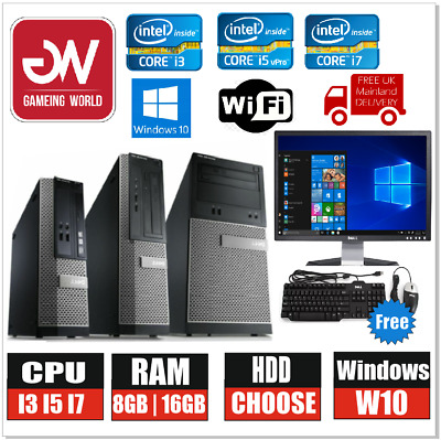 Dell Desktop PC Computer BUNDLE I3 I5 I7 500GB 1TB 8GB 16GB Win10 19  Monitor • 264.99£