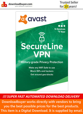 Avast SecureLine VPN 2020 - 5 Devices - 1 Year [Download] • 13.99£