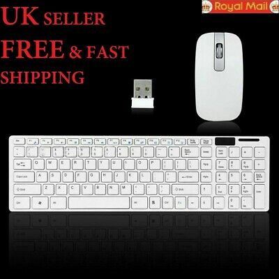 Wireless Slim Keyboard And Mouse 2.4GHz Cordless Set For Laptop Desktop PC White • 12.78£