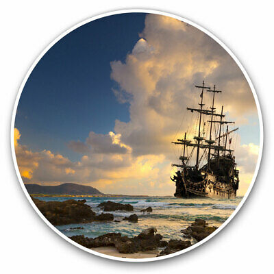 2 X Vinyl Stickers 10cm - Pirate Ship At Sea Sunset Cool Gift #24027 • 2.49£
